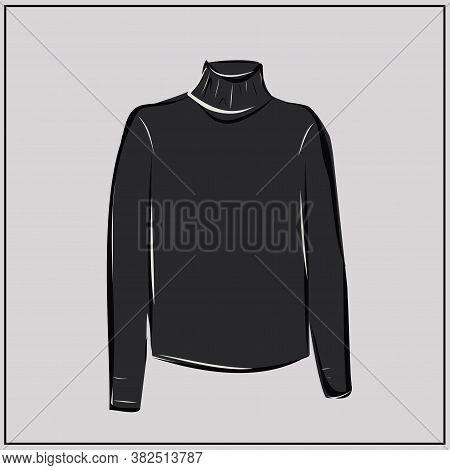Classic Black Turtleneck. Sweater. Oversize. Fashion. The Basic Wardrobe Of A Minimalist. Autumn Clo
