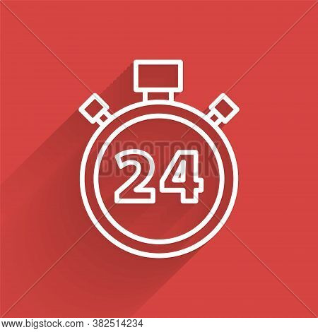 White Line Stopwatch 24 Hours Icon Isolated With Long Shadow. All Day Cyclic Icon. 24 Hours Service