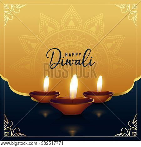 Beautiful Golden Happy Diwali Greeting Vector Design Illustration
