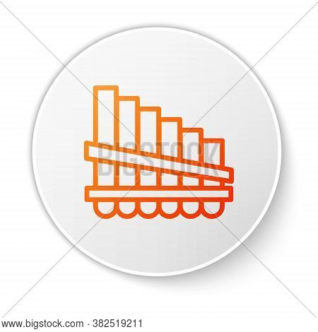 Orange Line Pan Flute Icon Isolated On White Background. Traditional Peruvian Musical Instrument. Za