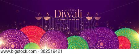 Happy Diwali Occasion Festival Banner With Indian Pattern Decoration