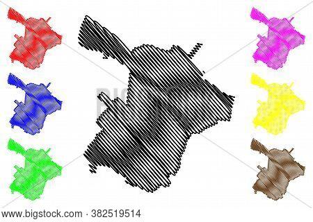 Ganja City (republic Of Azerbaijan) Map Vector Illustration, Scribble Sketch City Of Elisabethpol Or