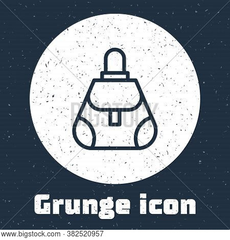 Grunge Line Handbag Icon Isolated On Grey Background. Female Handbag Sign. Glamour Casual Baggage Sy