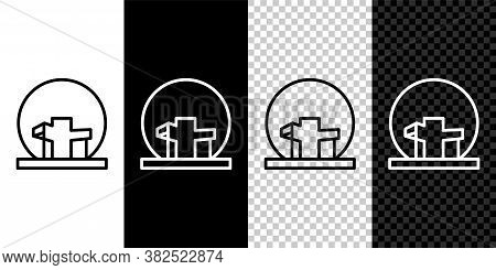 Set Line Montreal Biosphere Icon Isolated On Black And White Background. Vector