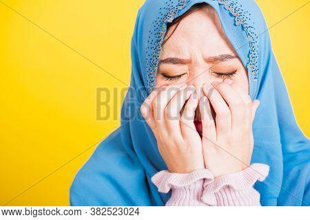 Asian Muslim Arab, Portrait Of Happy Beautiful Young Woman Religious Wear Veil Hijab She Sad Crying