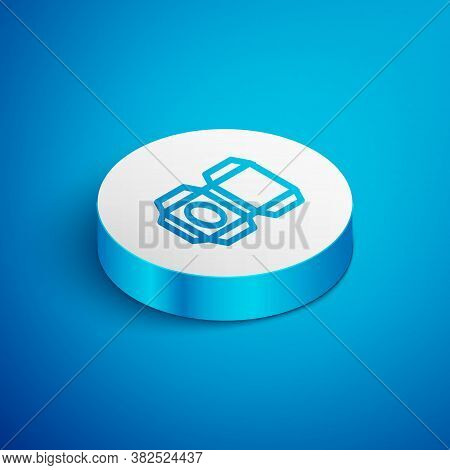 Isometric Line Carton Cardboard Box Icon Isolated On Blue Background. Box, Package, Parcel Sign. Del