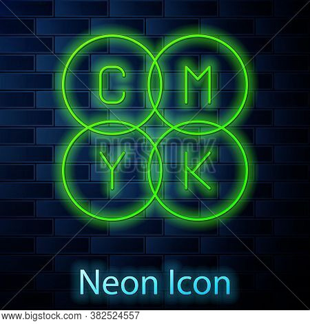 Glowing Neon Line Cmyk Color Mixing Icon Isolated On Brick Wall Background. Vector