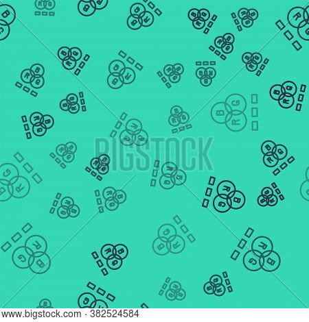 Black Line Rgb Color Mixing Icon Isolated Seamless Pattern On Green Background. Vector