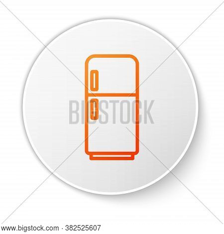 Orange Line Refrigerator Icon Isolated On White Background. Fridge Freezer Refrigerator. Household T