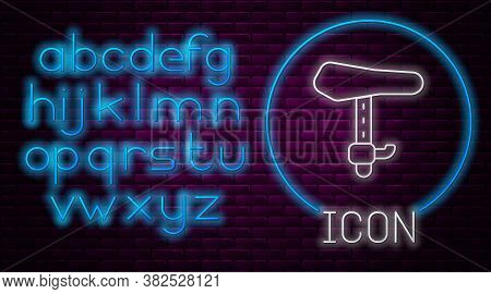 Glowing Neon Line Bicycle Seat Icon Isolated On Brick Wall Background. Bicycle Saddle. Neon Light Al