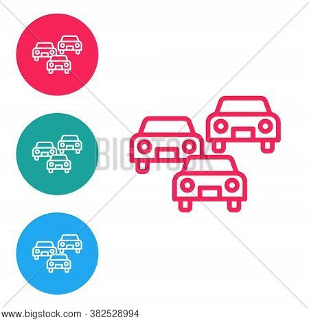 Red Line Traffic Jam On The Road Icon Isolated On White Background. Road Transport. Set Icons In Cir