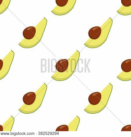 Illustration On Theme Big Colored Seamless Avocado, Bright Fruit Pattern For Seal. Fruit Pattern Con