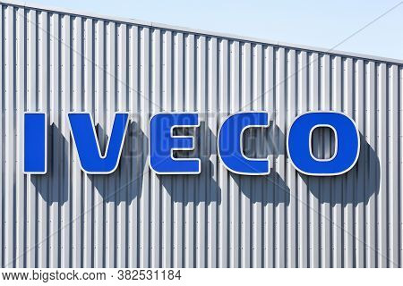 Villefranche, France - May 17, 2020: Iveco Logo On A Building. Iveco, An Acronym For Industrial Vehi
