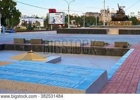 Tiraspol, Transnistria, Moldova - August 24, 2020: downtown of the city, memorial complex of heroes and victims of world war II, T34 tank monument