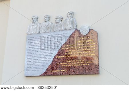 Rzeszow, Poland - June 13, 2020: Plaque In Memory Of Shooters, Legionnaires And Conspirators Of The