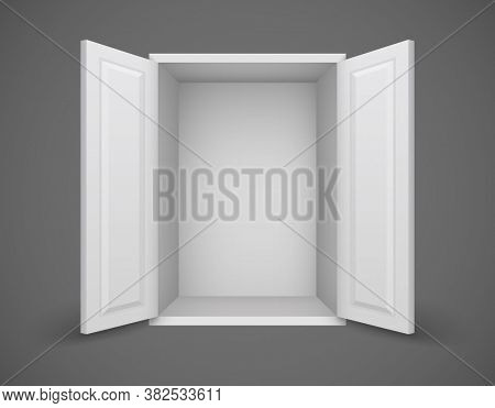 Empty white box with open doors and nothing inside. 3D illustration.