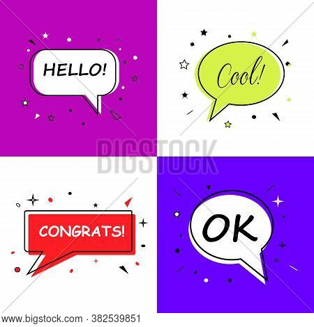 Cool Hello Ok Congrats, Speech Bubbles With Dialog Words Vector Bubbles Speech Illustration Pink Thi