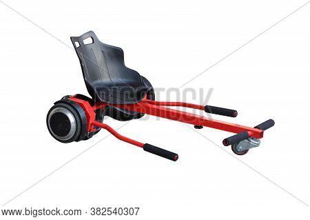 Red And Black Hoverkart For Hoverboard Isolated On White Background
