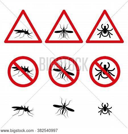 Anti Mosquito And Mite Symbols Set Icons