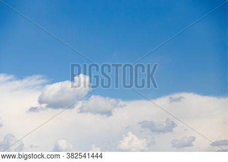 Clear Blue Sky And White Clouds. Half Of The Blue Sky, Half White Cloud. Copy Space