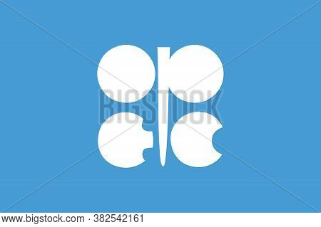 Flag Of Opec ( Organization Of The Petroleum Exporting Countries ) Opec Flag. Button With Flag Of Op