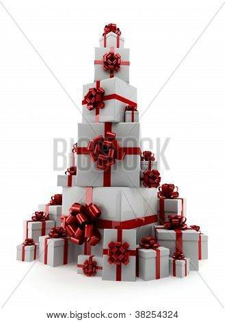 Pile Of Gifts On A White Background