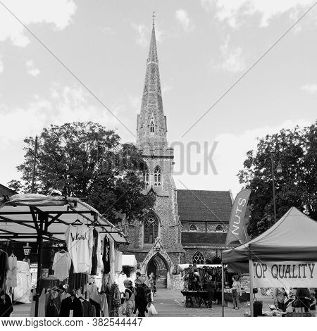 LONDON/ UK- 25th August 2020: The ancient church of St Edward the confessor, in romford market, east London. Taken in black and white.