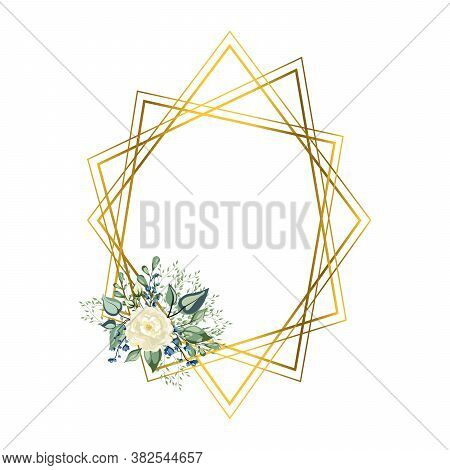 Frame Golden Crystal. Geometric Crystal Stone Polyhedron Mosaic Shape. You Can Put Leaf Or Flower On