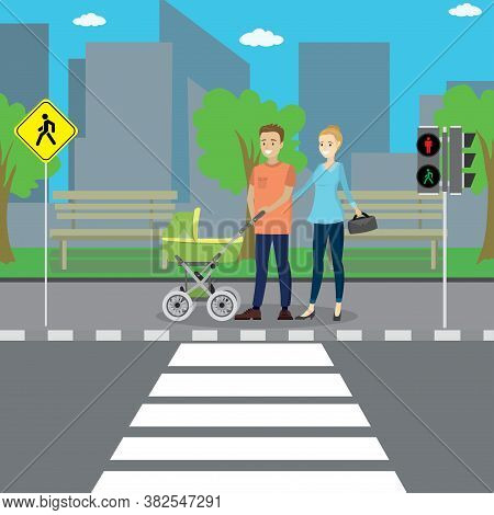 Caucasian Couple With A Baby Stroller Stands At A Pedestrian Crossing,