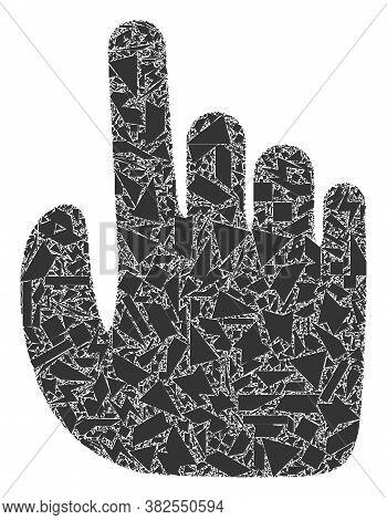 Debris Mosaic Index Finger Icon. Index Finger Collage Icon Of Debris Items Which Have Randomized Siz