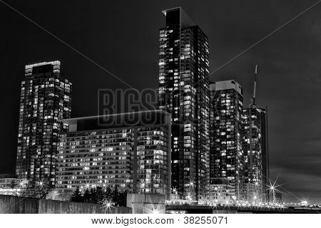 distant shot of illuminated office buildings