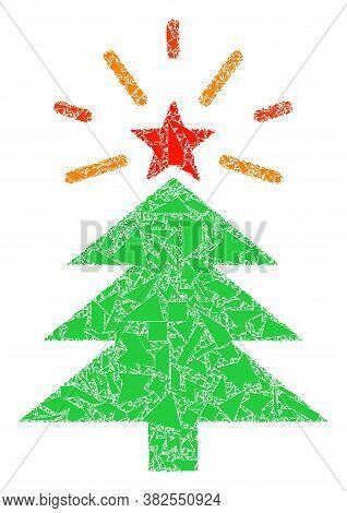 Debris Mosaic Shine Christmas Tree Icon. Shine Christmas Tree Mosaic Icon Of Debris Items Which Have