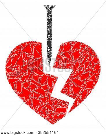 Debris Mosaic Break Valentine Heart Icon. Break Valentine Heart Mosaic Icon Of Debris Elements Which