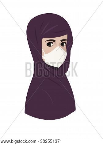 Muslim Young Woman Wearing Violet Hijab With Medical Protective Face Mask Respirator To Protect From