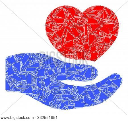 Spall Mosaic Romantic Heart Offer Hand Icon. Romantic Heart Offer Hand Collage Icon Of Spall Items W