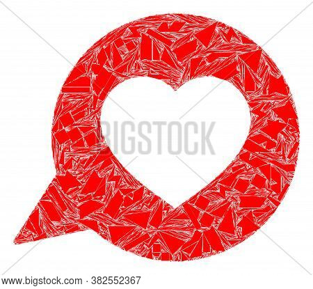 Shatter Mosaic Love Message Icon. Love Message Collage Icon Of Shard Elements Which Have Variable Si
