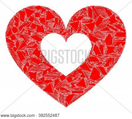 Shatter Mosaic Love Heart Icon. Love Heart Mosaic Icon Of Shatter Items Which Have Variable Sizes, A