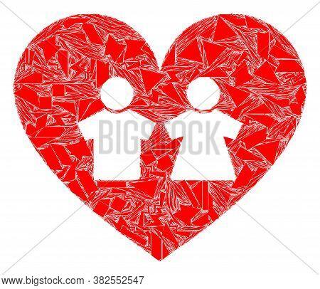 Debris Mosaic Romantic Heart Icon. Romantic Heart Mosaic Icon Of Debris Elements Which Have Various
