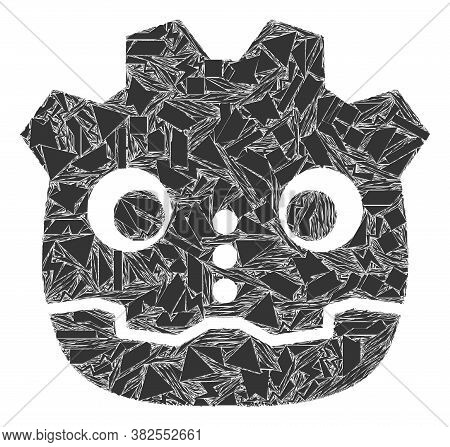 Debris Mosaic Robot Head Icon. Robot Head Mosaic Icon Of Debris Items Which Have Different Sizes, An