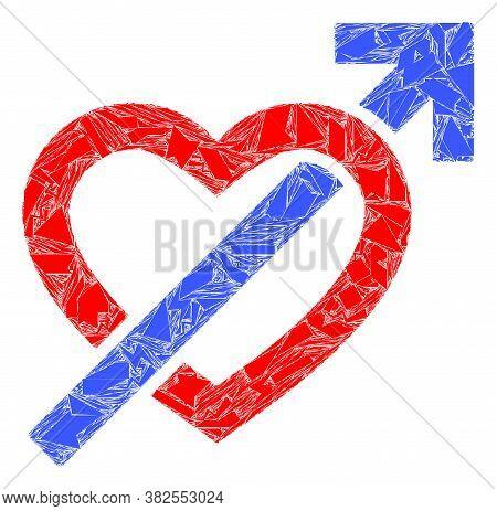 Shard Mosaic Heart Penetration Arrow Icon. Heart Penetration Arrow Mosaic Icon Of Shard Items Which