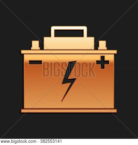 Gold Car Battery Icon Isolated On Black Background. Accumulator Battery Energy Power And Electricity