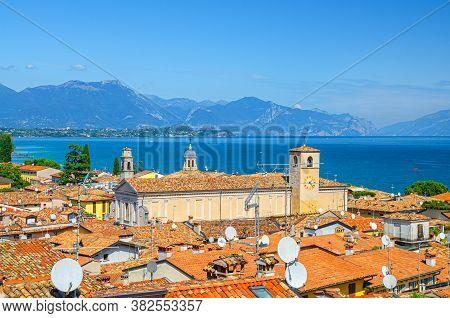 Aerial View Of Desenzano Del Garda Town With Bell Tower Of Duomo Di Santa Maria Maddalena Cathedral