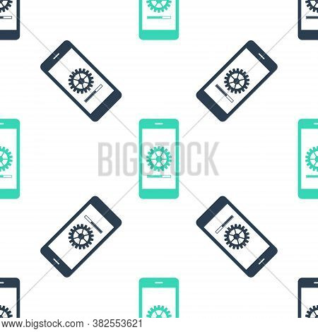 Green Smartphone Update Process With Gearbox Progress And Loading Bar Icon Isolated Seamless Pattern