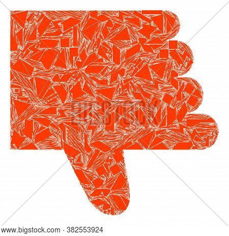 Shatter Mosaic Thumb Down Icon. Thumb Down Mosaic Icon Of Shatter Elements Which Have Various Sizes,