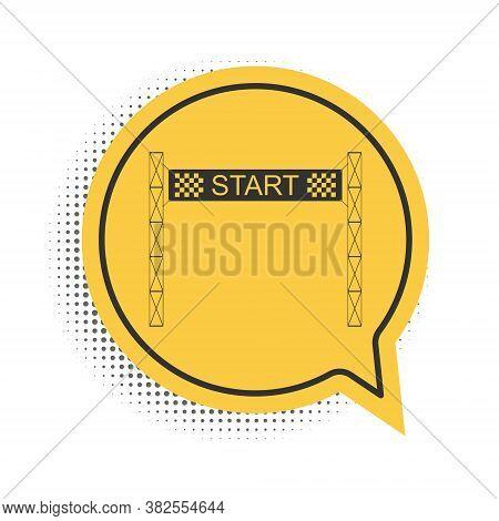 Black Starting Line Icon Isolated On White Background. Start Symbol. Yellow Speech Bubble Symbol. Ve