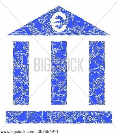 Shatter Mosaic Euro Bank Building Icon. Euro Bank Building Mosaic Icon Of Shatter Items Which Have V