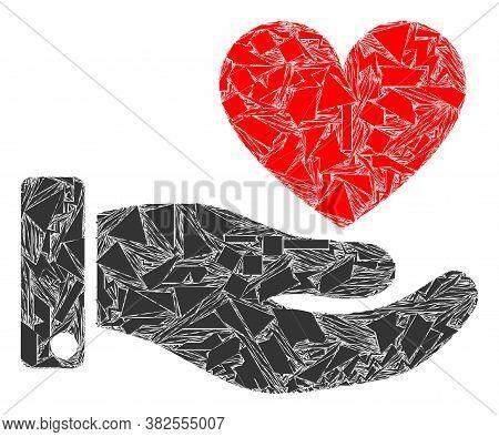Debris Mosaic Hand Offer Love Heart Icon. Hand Offer Love Heart Mosaic Icon Of Debris Items Which Ha