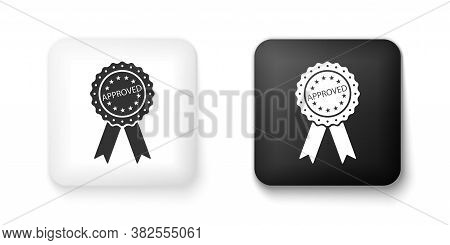 Black And White Approved Or Certified Medal Badge With Ribbons Icon Isolated On White Background. Ap