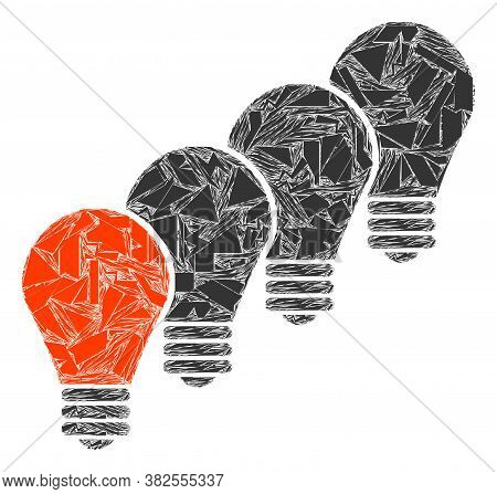 Fraction Mosaic Lamp Bulbs Icon. Lamp Bulbs Collage Icon Of Spall Elements Which Have Various Sizes,