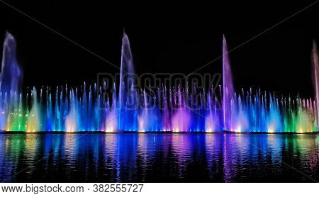 Night Laser Fountain Show, On The Roshen Embankment, The Ukrainian City Of Vinnitsa.musical Fountain